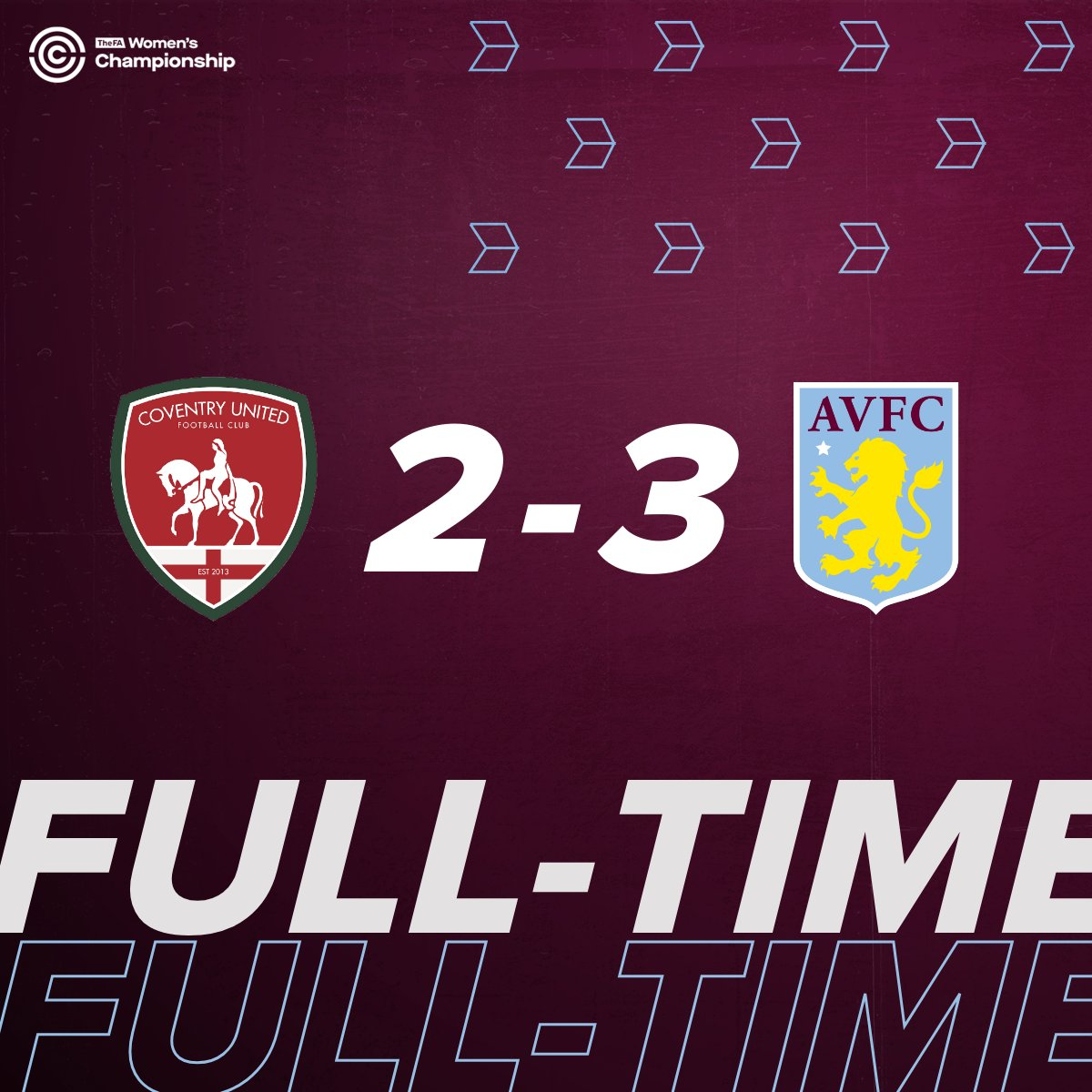 FULL-TIME Nail-biting action towards the end as Coventry push on for an equaliser but three goals from Villa in the first half help secure three points 👊 🔴 2-3 🦁 #SeeUsRoar #UTV #AVFC