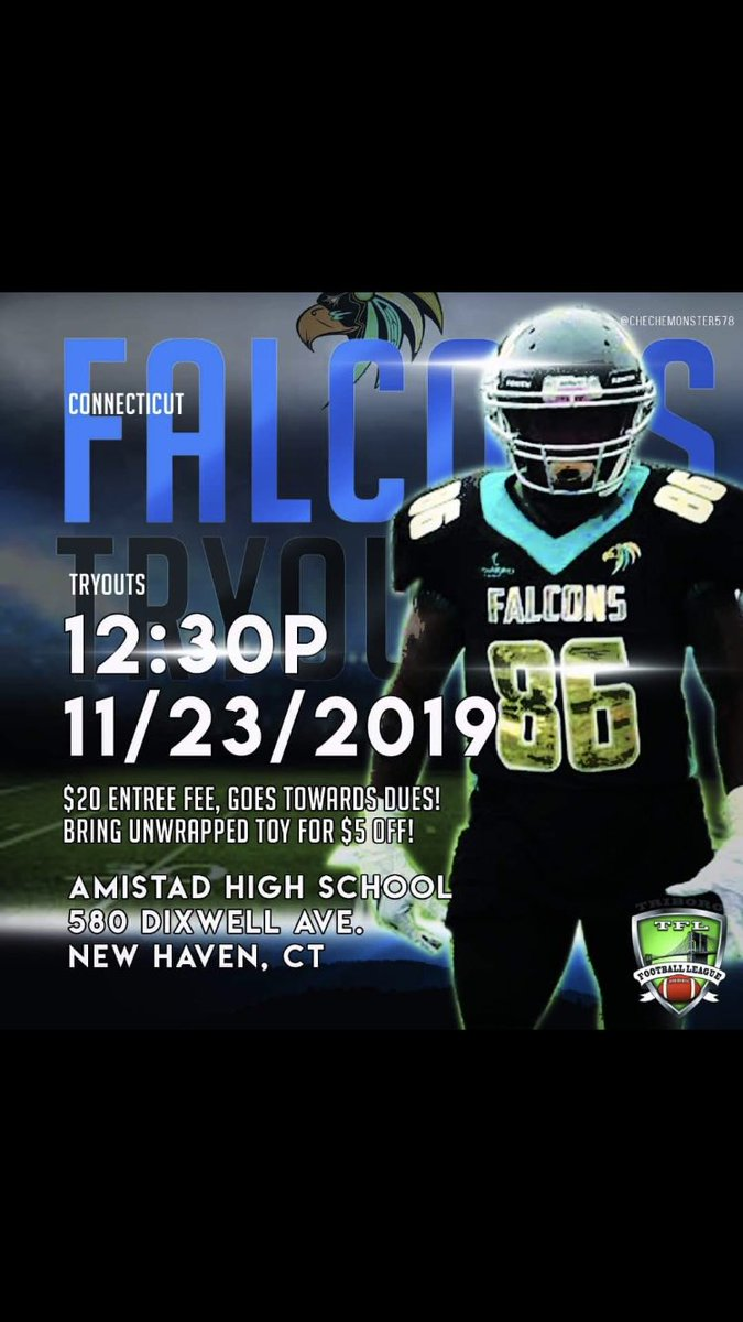 Interested in continuing to play football as an adult? Come check out the CT Falcons. Tryouts 11/23 in New Haven. #ctfootball #semiprofootball #footballinct #ctfalcons #triborofootballleague #tfl #findateam #adultfootball<br>http://pic.twitter.com/mtNs0iOwwG