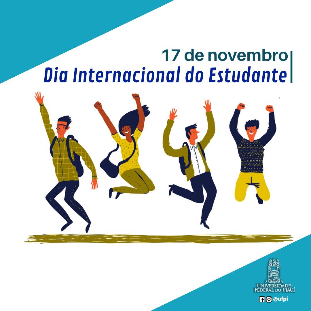 ✨ Hoje, 17 de novembro é comemorado o Dia Nacional do Estudante. 👏🏻📚 Todo caminho deve ser construído através de um aprendizado e nunca é tarde para isso. Parabéns a todos os estudantes que buscam diariamente a evolução. 👏🏻 . . . #diainternacionaldoestudante #ufpi #minhaufpi