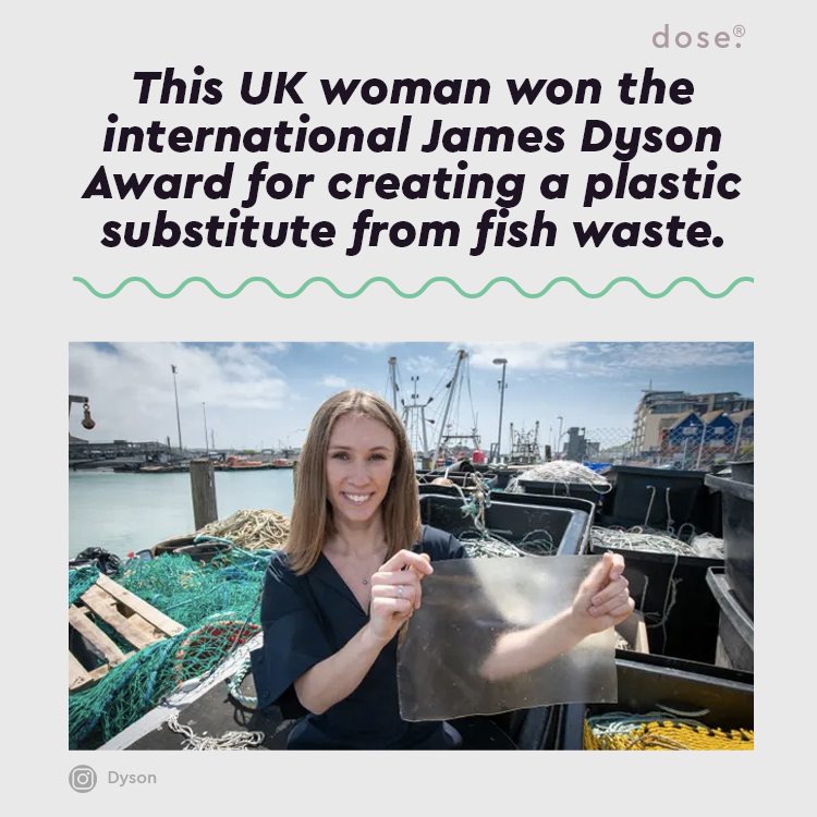 University of Sussex production design graduate Lucy Hughes won $38, 656 for creating the biodegradable and compostable material, which is called MarinaTex.