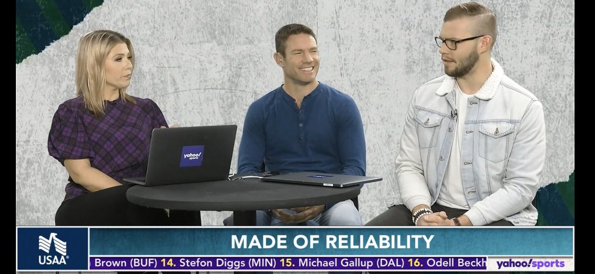 Thanks to @NateBoyer37 for joining @LizLoza_FF and @MattHarmon_BYB this morning on @YahooSports Fantasy Football Live. You can see him every Sunday morning for the rest of the season. #AskFFL @USAA