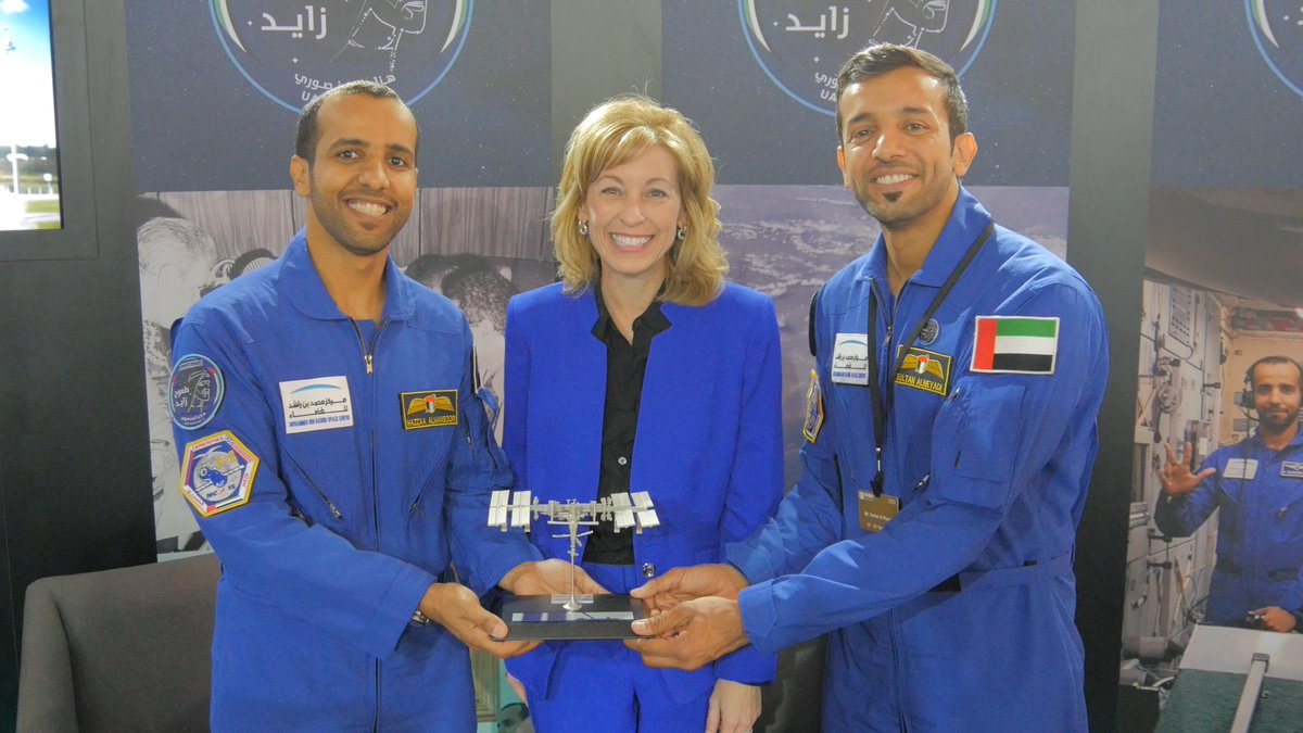 "It is a pleasure to celebrate @astro_hazzaa and his milestone mission to the ISS and meet @astro_alneyadi at the #DubaiAirshow. We welcome the UAE to the Space Station and look forward to partnering on many exciting space adventures to come!"" - @BoeingDefense CEO Leanne Caret"