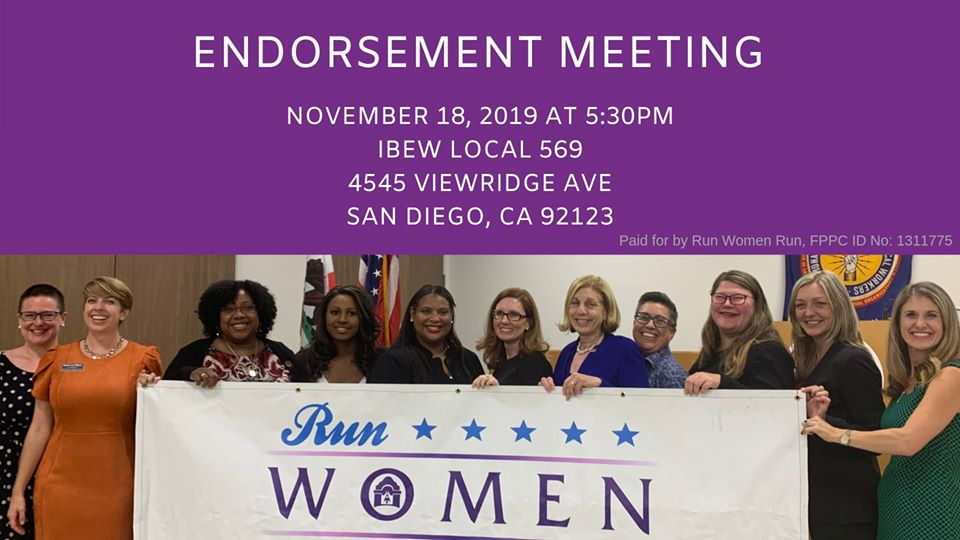 TOMORROW! Run Women Run members will be voting to endorse women candidates running in the March 2020 primary. Don't forget to RSVP here: http://www.runwomenrun.org/endorsement_meeting… #womeninpolitics #electwomen
