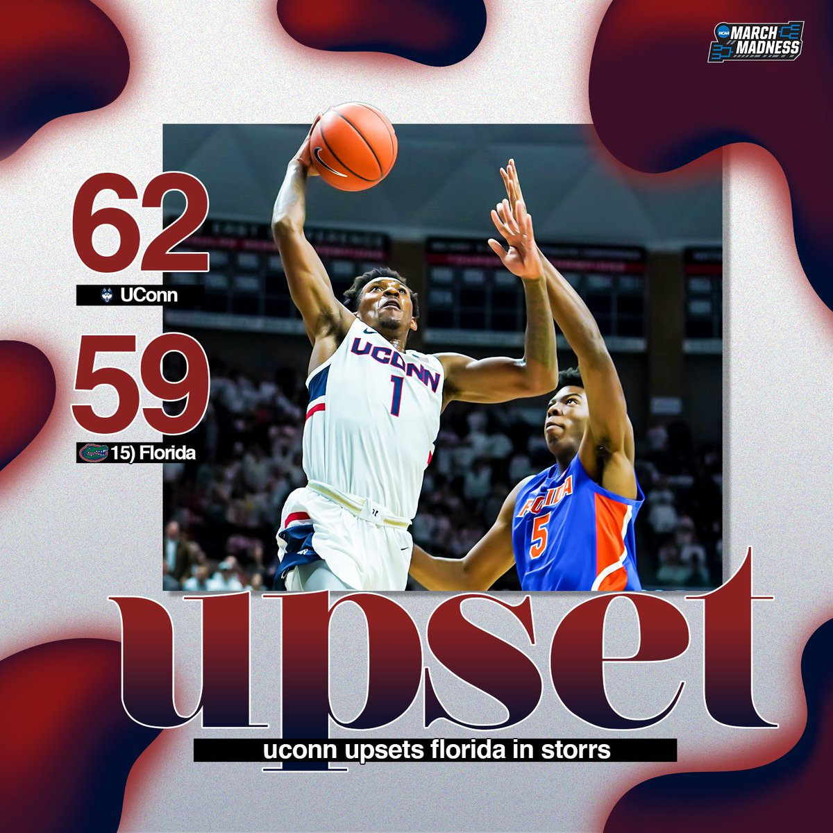 DOWN GOES FLORIDA!  UConn holds on to UPSET the No. 15 Gators in Storrs! #ThisIsUConn<br>http://pic.twitter.com/C7NubYTaHK
