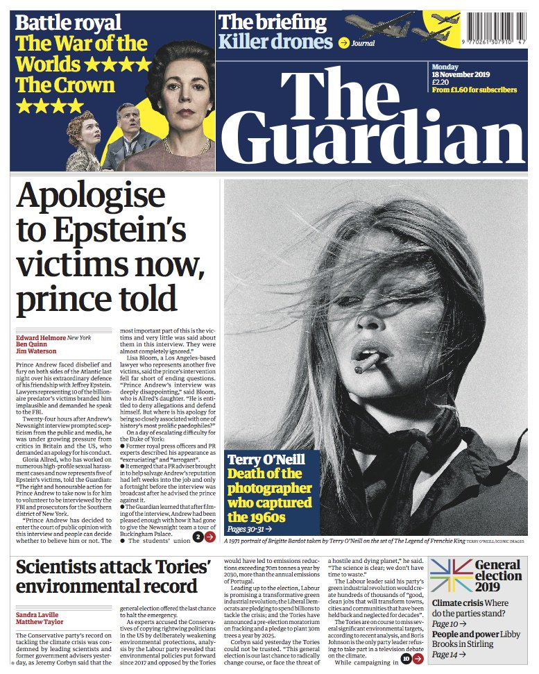 Guardian front page, Monday 18 November 2019: Apologise to Epstein's victims now, prince told