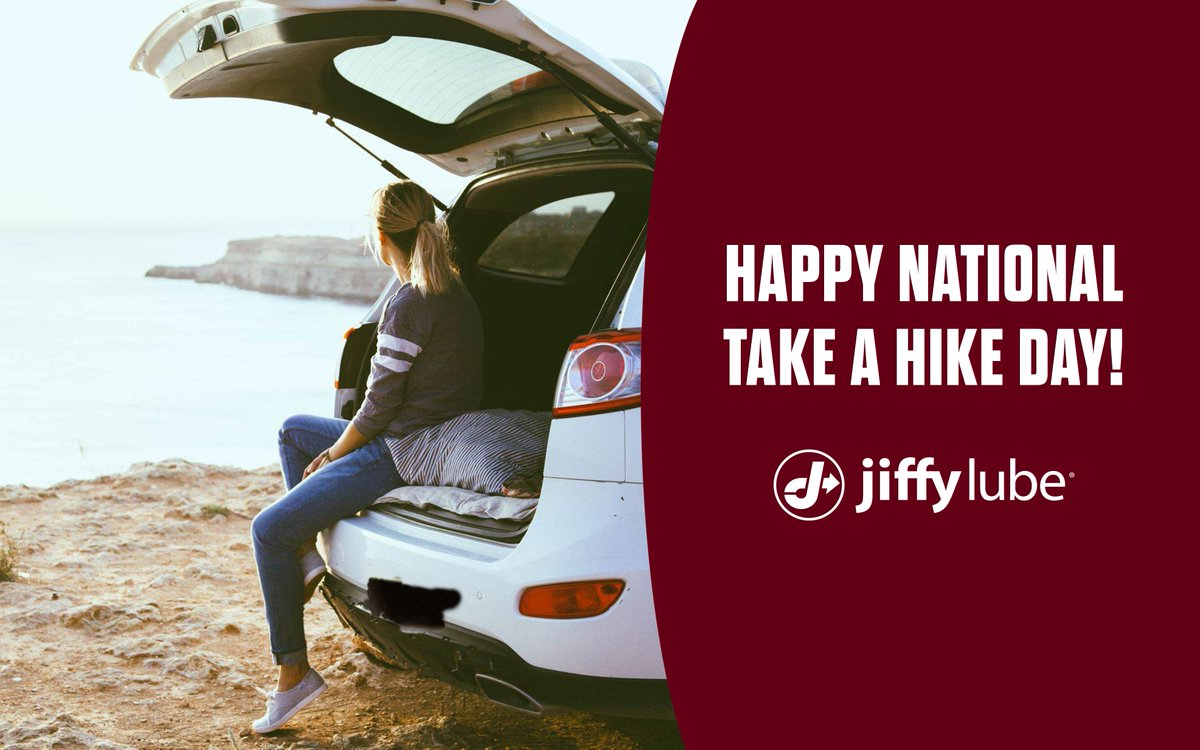 Did you know that today is #NationalTakeAHikeDay? Where is your favorite place to take a hike? Wherever it is, bring #JiffyLube along for the ride! Use this coupon and receive $12 off your next Signature Service® Oil Change:   #JiffyLubeSoCal