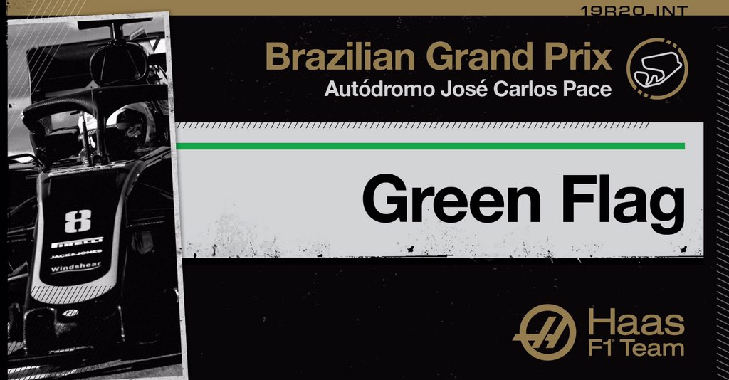 Lap 59/71: The safety car is in and WE ARE RACING!  12 laps of all-out action to come at Interlagos!   P7 GRO P16 MAG   #HaasF1 #BrazilGP