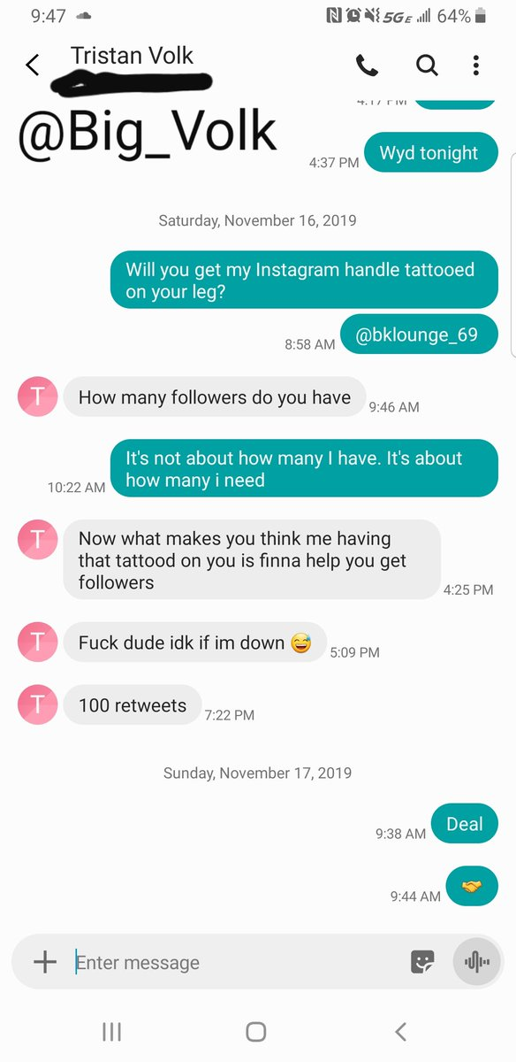 RT!! The homie @Big_Volk said he would get my Instagram handle @bklounge_69 tattooed on his leg if I can get 100 RT's! #RT <br>http://pic.twitter.com/0aayp6xeZf
