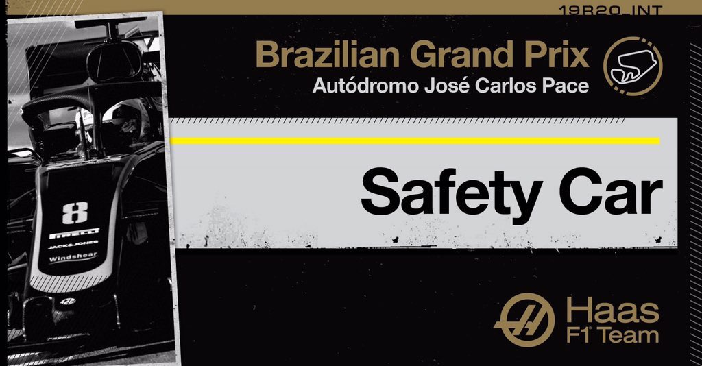 Lap 67/71: It's another safety car after the Ferraris collide.   Kevin is up to 12th now on some pretty fresh tires for the final couple of laps!  Romain now P15.   #HaasF1 #BrazilGP