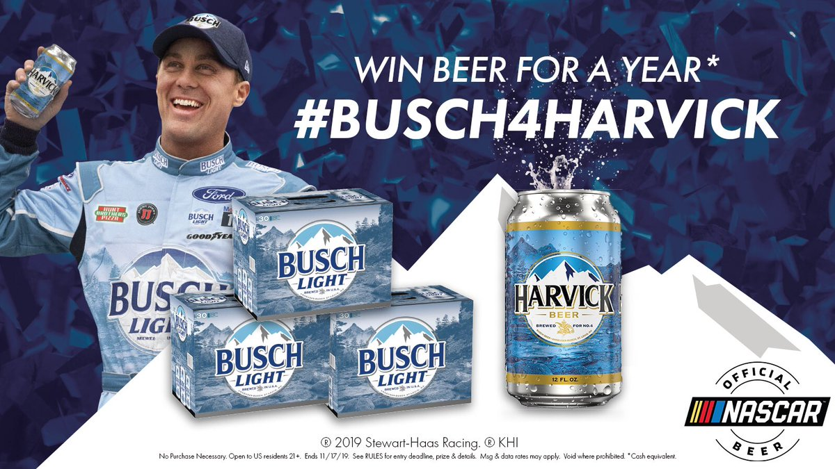 RT this tweet while @KevinHarvick is in FIRST for a chance to win beer for a year! For every lap he leads today we're giving a year's worth of Busch and a signed HARVICK can! #Busch4Harvick #Sweepstakes #Championship4
