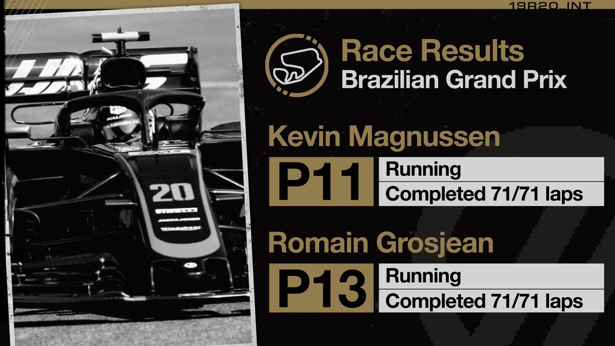 Confirmation of our race result at Interlagos 🇧🇷  @RGrosjean moves up one spot after a 5-second penalty given to Nico Hulkenberg.  #HaasF1 #BrazilGP