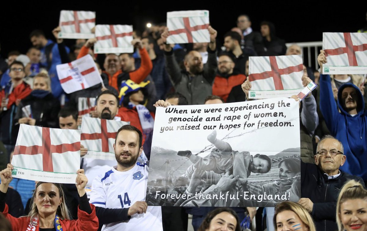 A powerful message from the people of Kosovo, this goes far beyond what happens on a football pitch. Respect.    <br>http://pic.twitter.com/CKcnyKZiJg