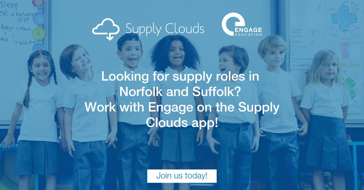 Interested in teaching supply? Engage is working with the Supply Clouds app in Norfolk and Suffolk - find out more here: http://bit.ly/34WP0JG#supplyteacher #supply #teachertwitter #edutwitter #ukedchat #teacher #education #learning #teacherjob