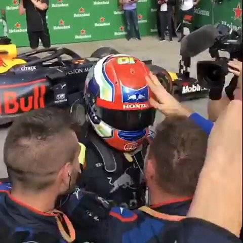More than just points. More than a trophy. More than champagne.  Feel the emotion down at @ToroRosso 😍  #BrazilGP 🇧🇷 #F1