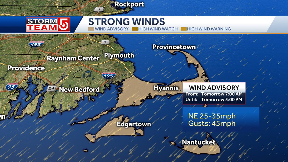A Wind Advisory has been posted for the Cape/Islands. Winds could gust to 45mph. The leaves are off the trees so I don't expect any major power interruptions but bring in the Halloween decorations you still have in the yard. (You know who you are.) #wcvb<br>http://pic.twitter.com/wYr2rmmpLr
