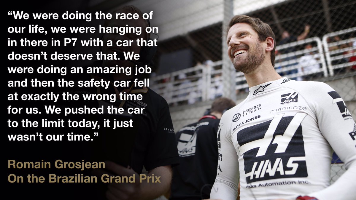 """""""First of all, I'm very happy for @PierreGASLY, it's good to see him on the podium. I'm very happy for him. I was the last Frenchman on the podium four years ago.""""  Romain's full #BrazilGP reaction here 👉 http://bit.ly/37aBzrD"""