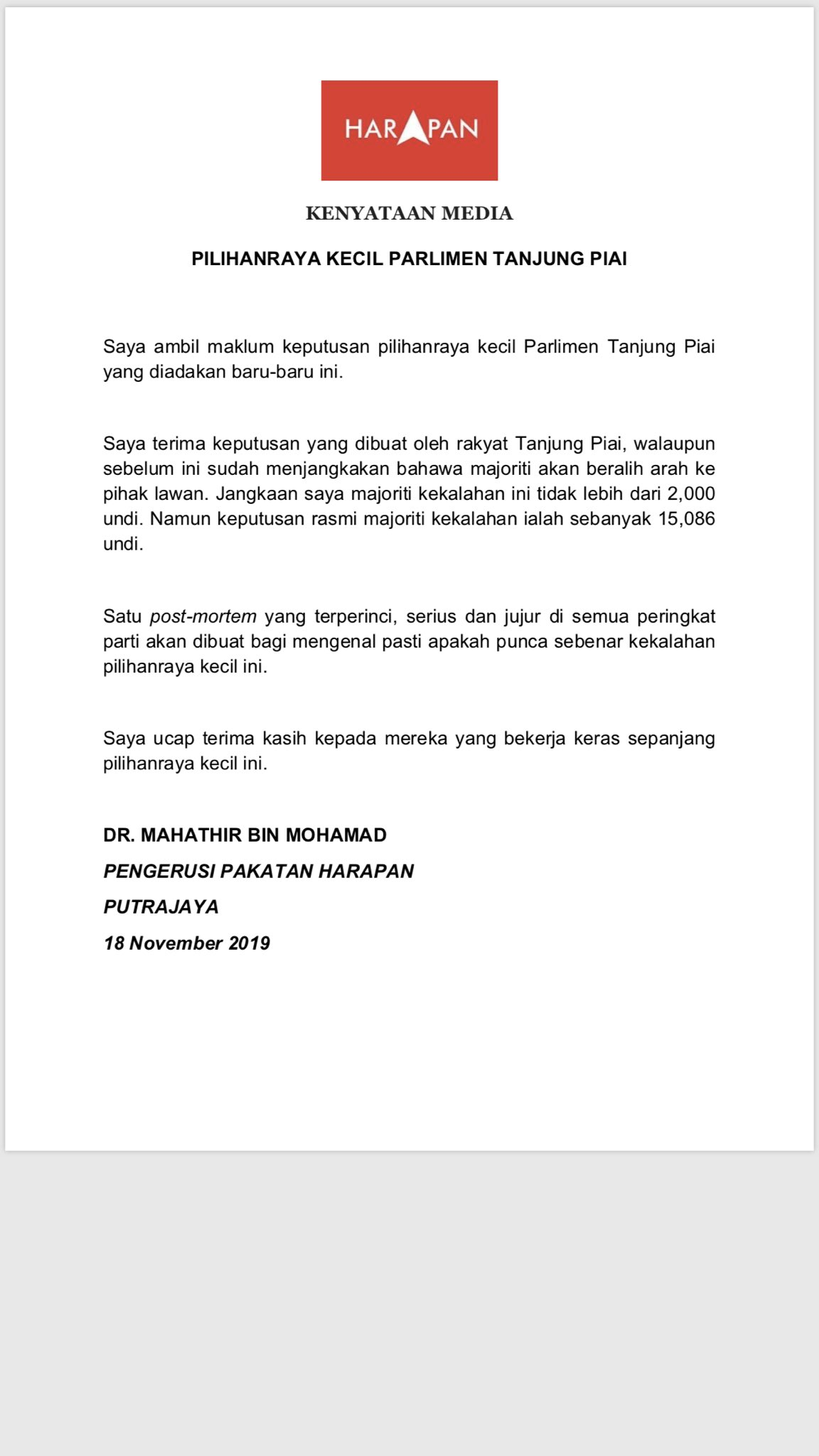 Melissa Goh On Twitter Dr Mahathir Said He S Expected Pakatan Harapan To Lose By A Smaller Margin Of 2000 Votes In Tanjung Piai Instead Of 15 000 Votes A Detailed Serious
