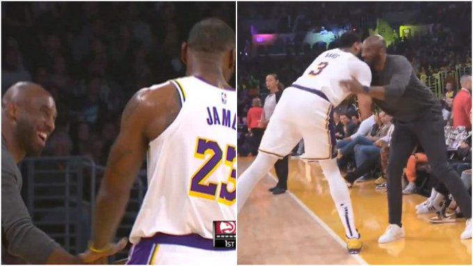 【影片】傳承!Kobe現場觀戰湖人,與詹姆斯一眉哥相互擊掌擁抱