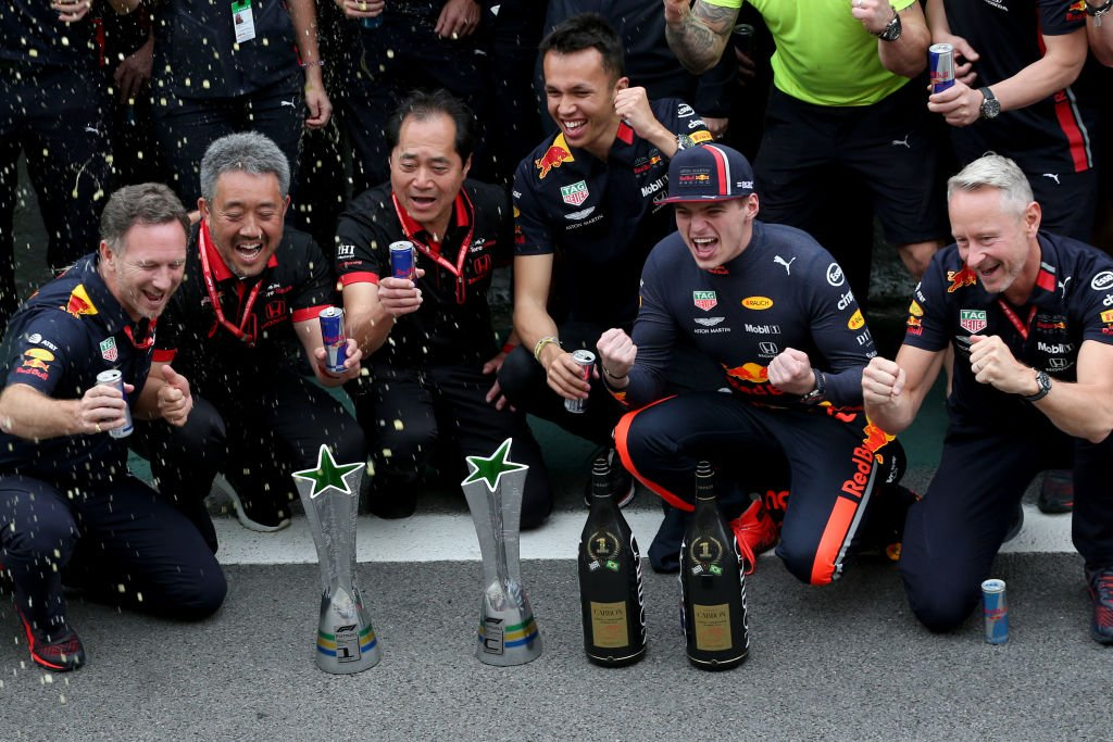 Red Bull's Max Verstappen won an incident-packed Brazilian Grand Prix with Pierre Gasly finishing in second. Full story: https://bbc.in/32WhoKx