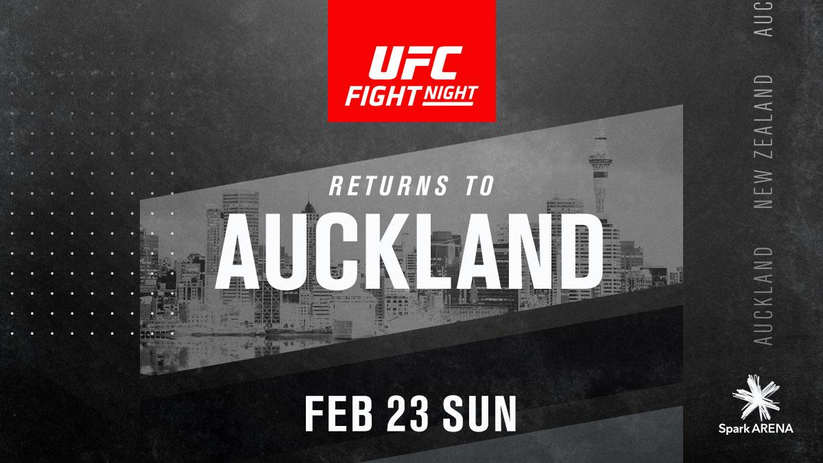 The UFC returns to Auckland, New Zealand 🇳🇿 on Sunday Feb 23rd!   To be the first to know about tickets and bout announcements, sign up at http://UFC.com/Auckland #UFCAuckland