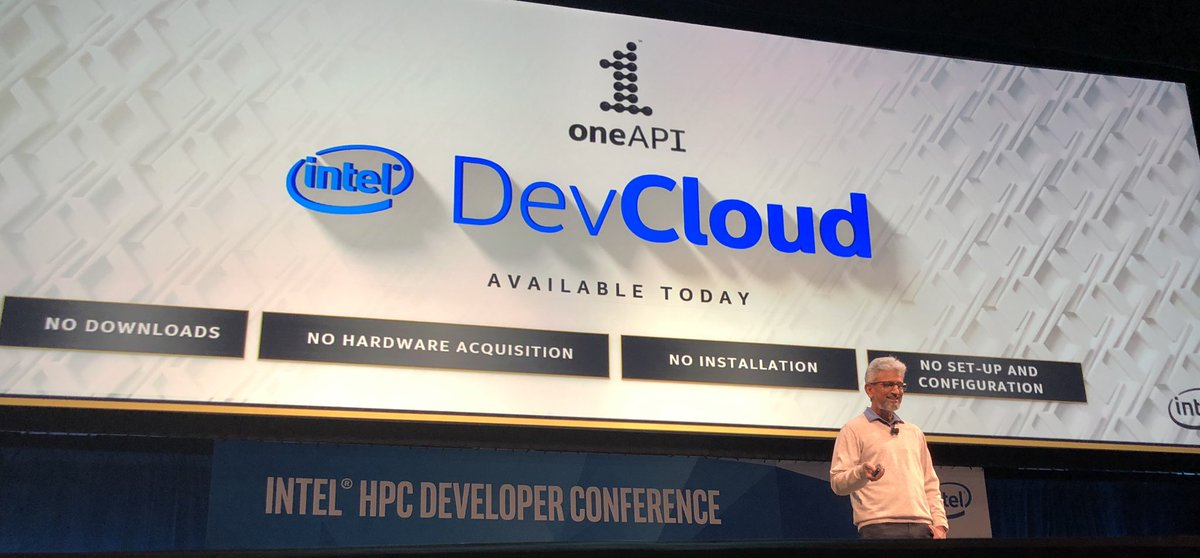 """""""oneAPI is decades of work, decades of IP from Intel...  and I am super excited to announce that the oneAPI public beta is available now for you to download."""" – at Ellie Caulkins Opera House"""