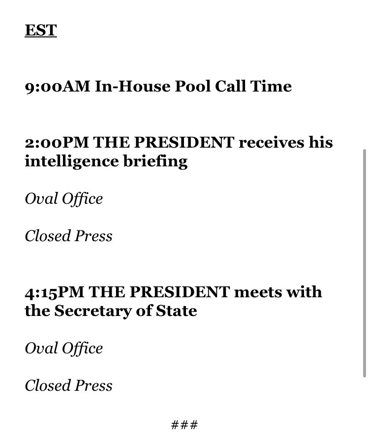 The president's unexpected visit to Walter Reed hospital was Saturday. He was not in public view today. Reporters are not expected to see him tomorrow either, per his public schedule: