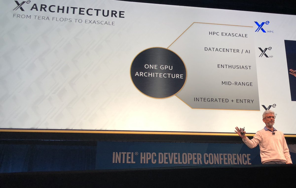 """""""Architecture is a software compatibility contract.  We originally were planning for two microarchitectures within Xe, our architecture (LP and HP), but we saw an opportunity for a third within HPC."""""""