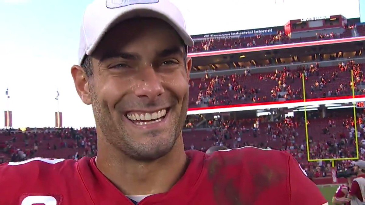 Jimmy was humble after a huge performance today. People forget he's still only played 18 games as a QB for the #49ersHis ceiling is high as he's starting to grasp Shanahan's offense and extensive playbook. Jimmy came up big in crunch time.