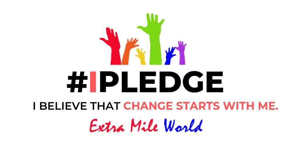 """Be the change that you wish to see in the world!  Join me in encouraging 1,000,000 people around the world to take the """"""""#ExtraMilePledge."""""""" Join us now! 👉https://extramileamerica.org/pledge3.php  #inspireu2action #takeaction #makeyourownlane #bethechange"""