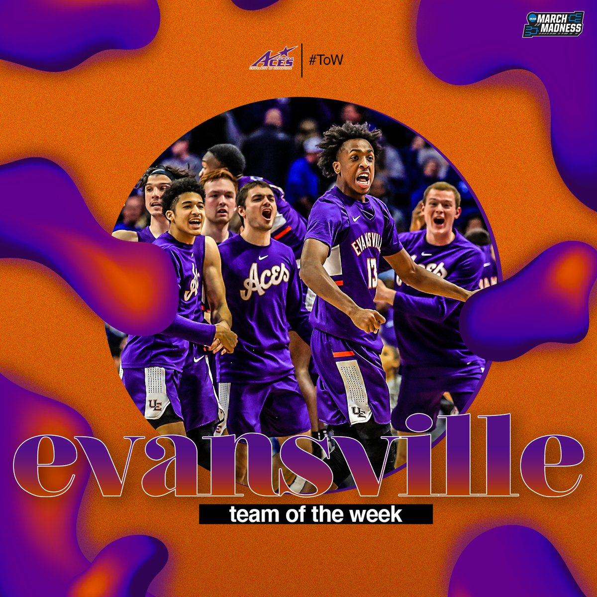 EVANSVILLE STAND UP!  Knocking off No. 1 Kentucky in Rupp Arena has earned @UEAthletics_MBB Team of the Week from @TheAndyKatz! <br>http://pic.twitter.com/MIGfVTy20w