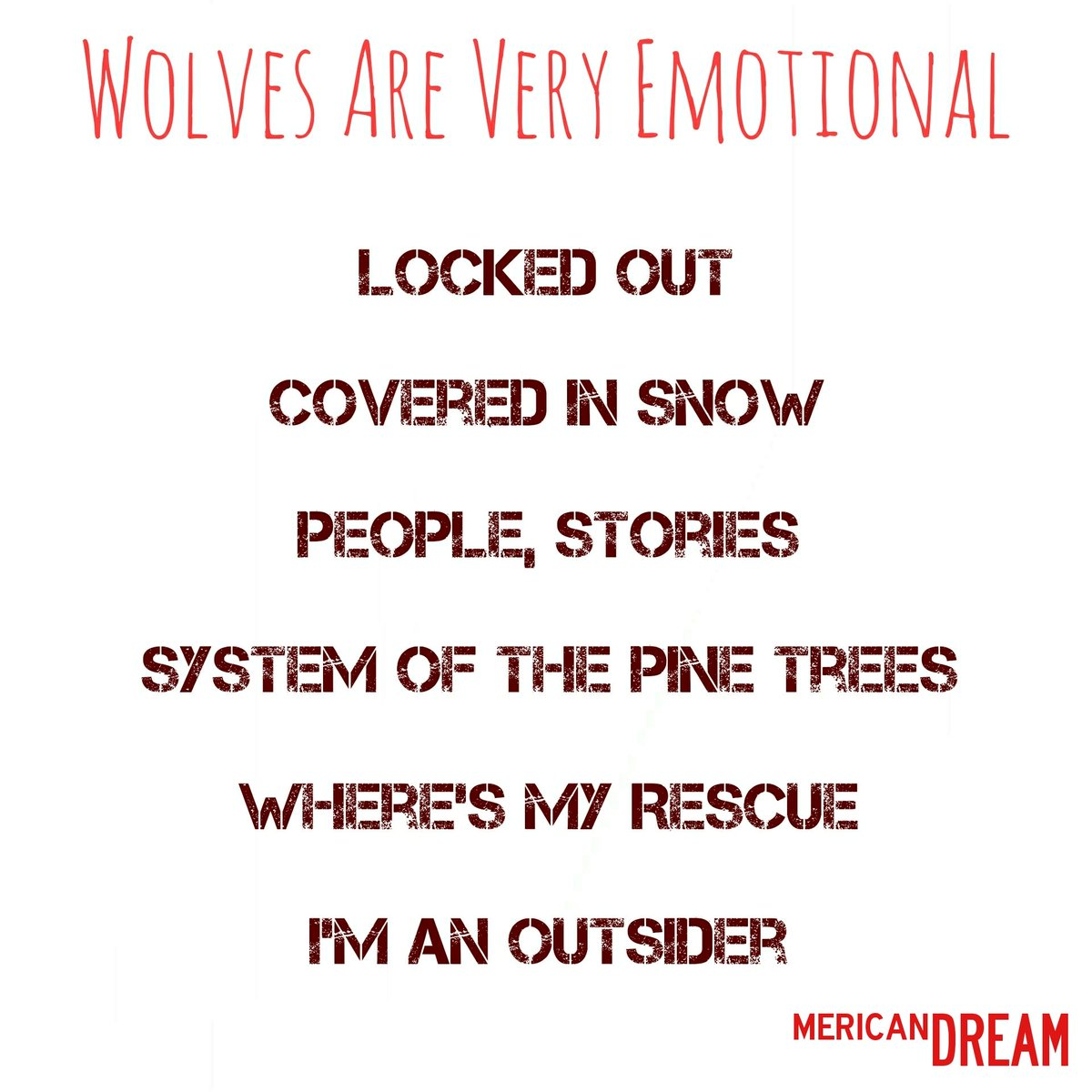 Track listing for ♦️Wolves Are Very Emotional♦️  #Lockedout #CoveredinSnow #People #pinetrees #where #outsider #Canine #Blackjackets #Maiden #Gitalong #Holy #Wolf https://t.co/kqO1gaIiyz https://t.co/HxOjFlrF5I