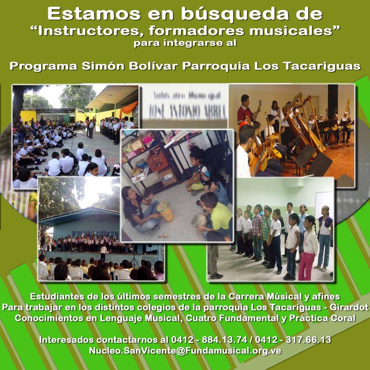 Atención! estamos en la búsqueda de Formadores Integrales para forma parte del Programa Simón Bolívar de nuestro #NucleoSanVicente #Maracay para nuestro periodo académico 2019-2020. Estudiantes de música, graduados y afines. Medio Tiempo, beneficios sociales. #RTExtraLife