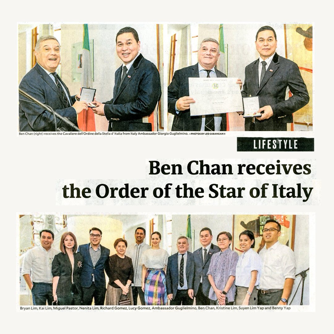 On today's headline at @inquirerdotnet 📰 A chairman and a knight in one 🙌 Cheers to this prestigious award, Sir Ben Chan @bcbench! 🥂 Slide to check out the features by @ThelmaSSanJuan and @TessaValdes ➡️