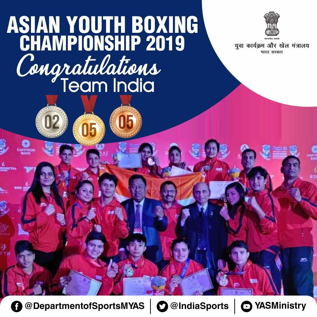 #AsianYouthBoxingChampionship2019Our young pugilists from #KheloIndia brings home 12 medals from Asian Youth Boxing Championship. Women boxers emerged victorious with 5🥇& 3🥉Medals, while men's team bagged 2🥈and 2🥉 Medals. Congratulations team! 👏👏🎉#IndiaontheRise🇮🇳