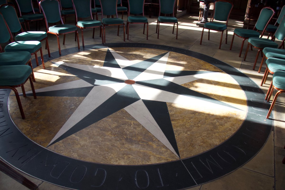 In the centre of the chapel floor, a Compass Rose was laid in 2004 with a circle of granite brought back from St Katharines Monastery on the slopes of Mount Sinai, the oldest Christian Monastery in the world. @RFSKLondon #reflection #quietdays #urbanoasisrfsk