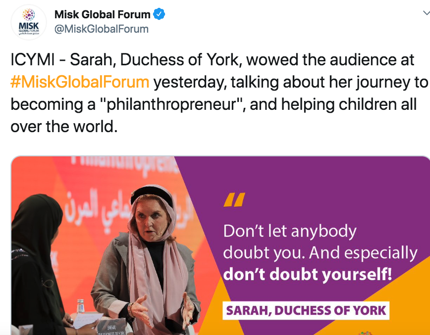 "When Prince Andrew was sitting for car-crash interview about Epstein, Fergie was at the charity summit for Saudi crown prince Mohammed Bin Salman. ""Everyone has been so nice here in Riyadh; I think that comes from good leadership,"" Fergie to Arab News. arabnews.com/node/1583781/s…"