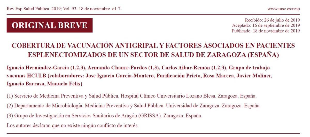 """Hoy publicamos el artículo """"Cobertura de #vacunación #antigripal y factores asociados en pacientes esplenectomizados de un sector de salud de Zaragoza (España)."""" 💉Cc @SaludPublicaAra @unizar @IISAragon @AEV_Vacunas @sev_virologia @SEinmunologia"""