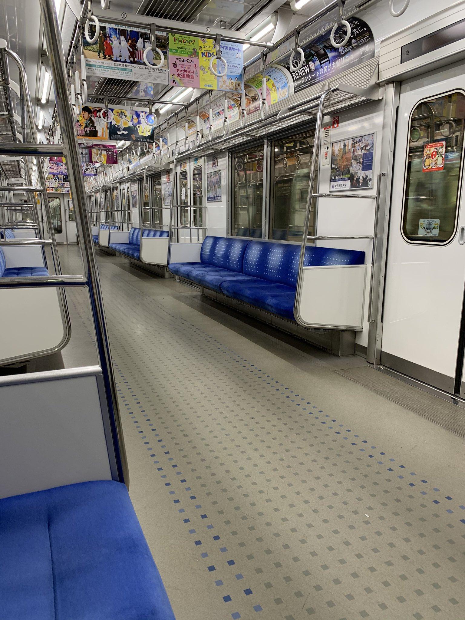 西武新宿線の井荻駅~上井草駅間で人身事故が起きた電車内の画像