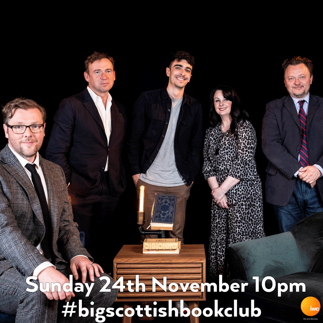 Writing Funny is the theme of this week's #BigScottishBookClub, with authors @DavidNWriter @estellecostanza @MarianKeyes and poet @ChrisMcQueer_ joining @Damian_Barr Sunday 10pm on @BBCScotland and on @BBCiPlayer #BooksOnTV #BookClub #MarianKeyes #DavidNicholls #JohnNiven