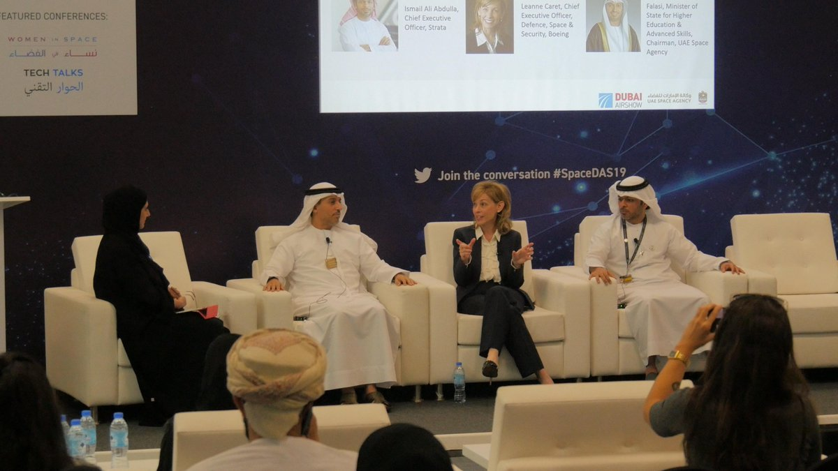 """Women have worked for decades to help build U.S. and global space programs. We need the same inclusive, international cooperation we see with @Space_Station to make human deep space exploration possible."" - @BoeingDefense CEO Leanne Caret, #DubaiAirshow Women in Space panel"