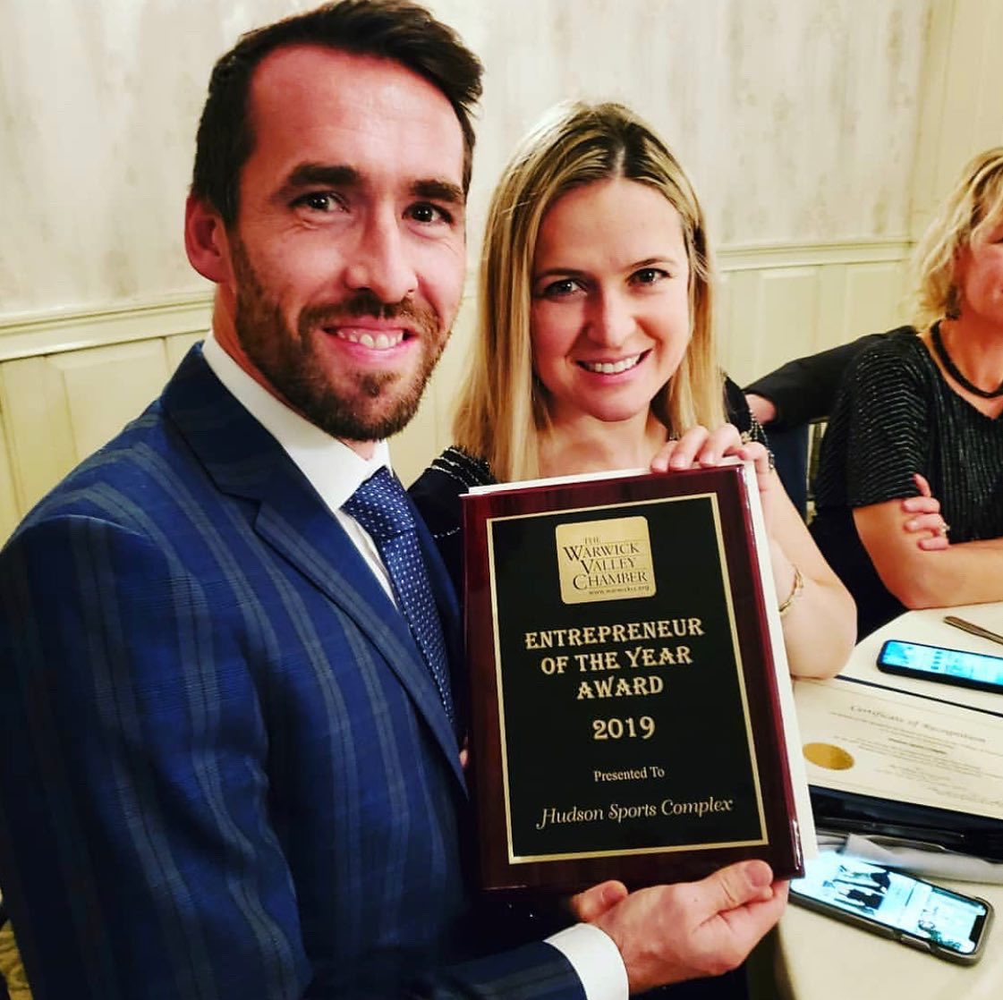 """My wife and I are very honored to be awarded the """"entrepreneur of the year 2019"""" award by the #WarwickChamberofCommerce for our work with @hudsonsportscom. This reflects the great teamwork at from everybody at Hudson Sports Complex and inspires us. #warwickny #warwick"""