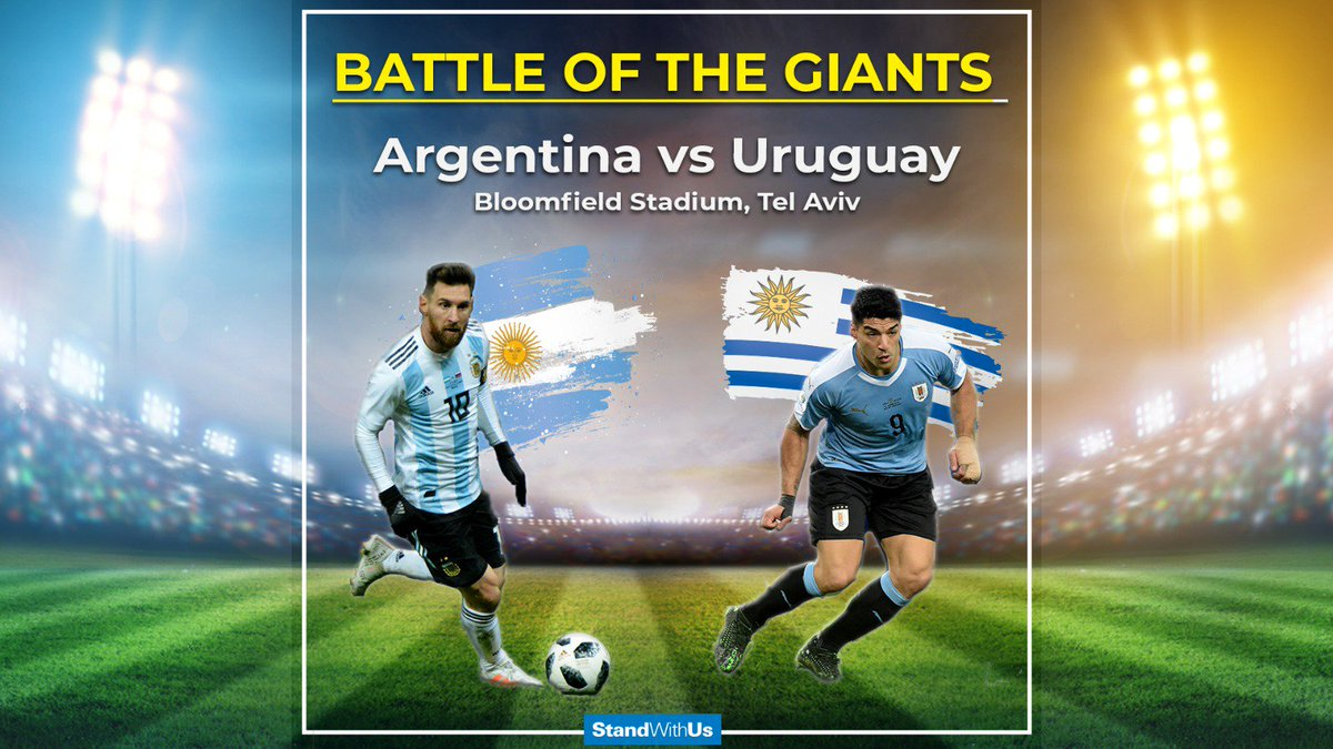 For the 1st time in Israels history, two giant soccer teams - Argentina and Uruguay - will play in Tel Aviv, in front of thousands of Israeli fans!