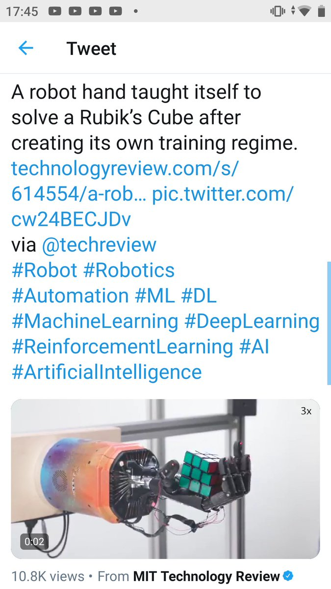 test Twitter Media - A robot hand taught itself to solve a Rubik's Cube after creating its own training regime. https://t.co/MKzNjARTFE https://t.co/ppZdt0Y93k via @techreview #Robot #Robotics #Automation #ML #DL #MachineLearning #DeepLearning #ReinforcementLearning #AI #ArtificialIntelligence #CISO https://t.co/tal3V0D7Wk