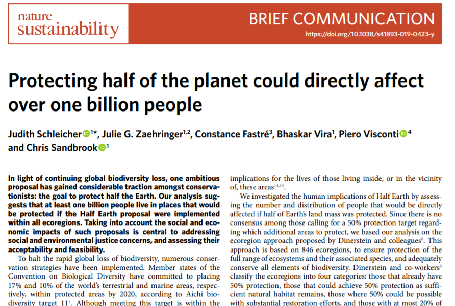 How would 50% protected area coverage (#HalfEarth) affect resident people? Our new paper in @naturesustainab shows that >1 billion people currently live in what would be PAs if all ecoregions reached 50%. Social impacts matter for #CBD #Post2020 targets nature.com/articles/s4189…