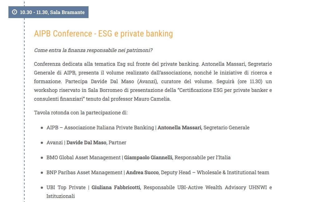 """Andrea Succo interviene alla """"AIPB Conference - ESG e Private Banking"""" al #SaloneSRI2019.  #ESG"""