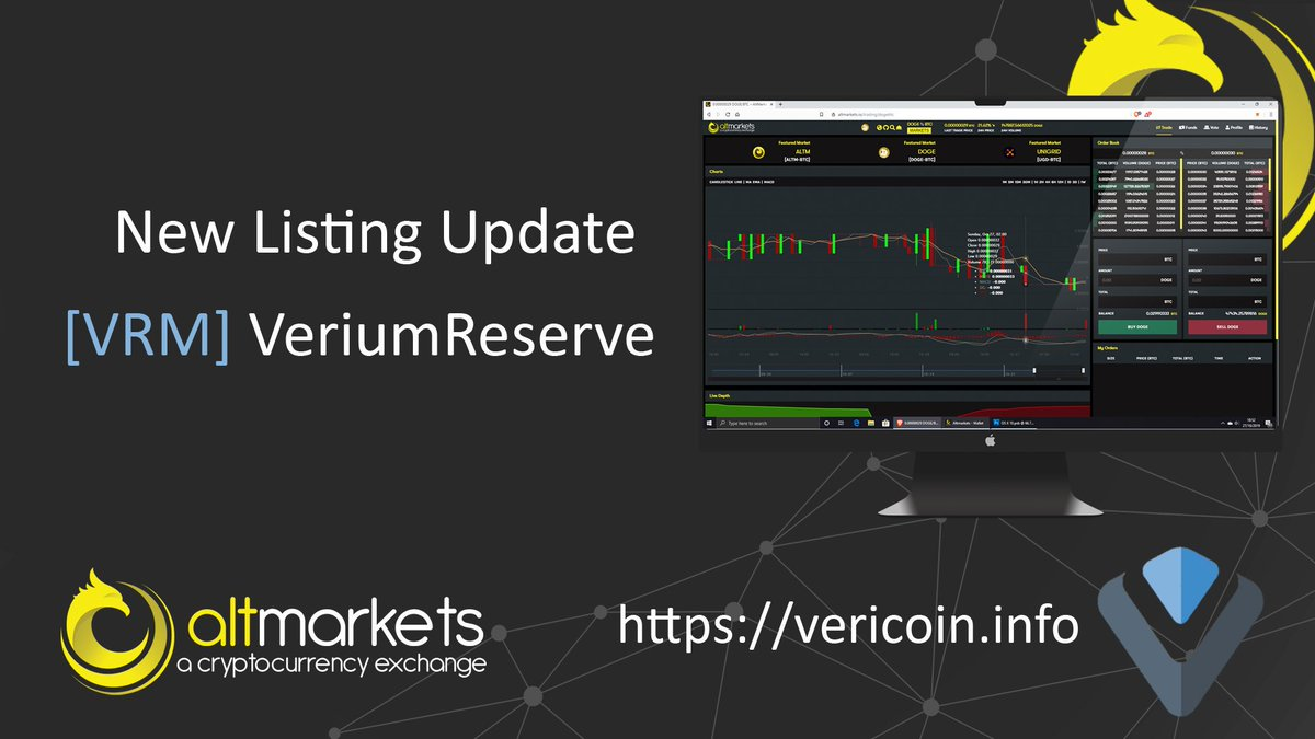 $VRM #Verium has been listed on @AltmarketsEX Altmarkets   Happy trading 👍  #cryptocurrency