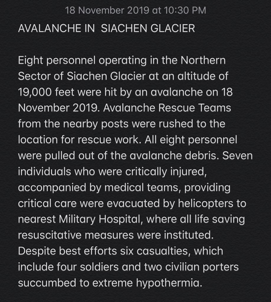 #BREAKING: Tragic News. Indian Army confirms six deaths due to avalanche at the Northern Sector of Siachen Glacier. These include four Indian Army soldiers and two civilian porters. Casualties due to extreme hypothermia. Rest in Peace bravehearts 🙏🇮🇳