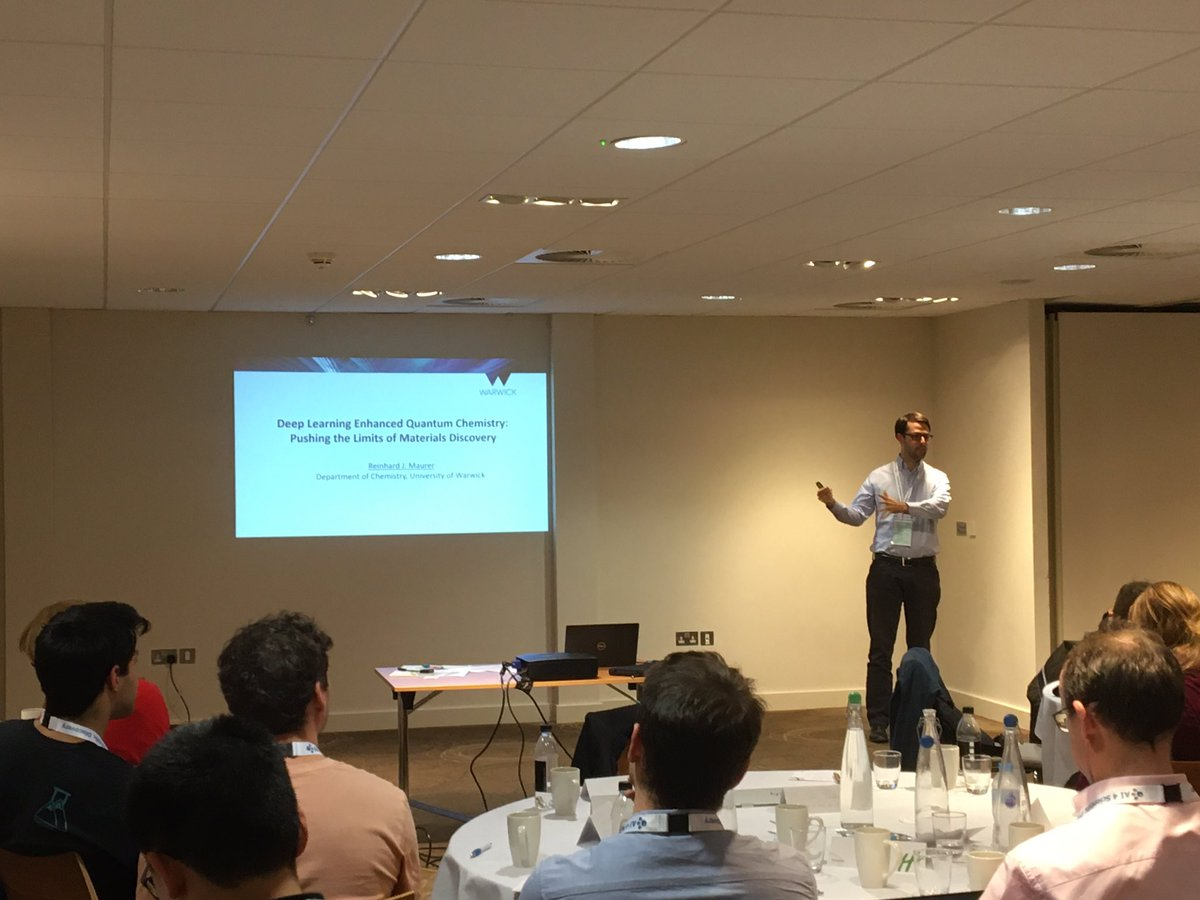 """test Twitter Media - Last but not least in Session 3 @ #AI3SD2019 covering the funded projects from our 1st funding round! Dr Reinhard Maurer from @warwickuni on  """"#DeepLearning Enhanced Quantum Chemistry: Pushing the limits of Materials Discovery"""" #ArtificialIntelligence #AI #ML #Machinelearning https://t.co/ugYXZotdfm"""