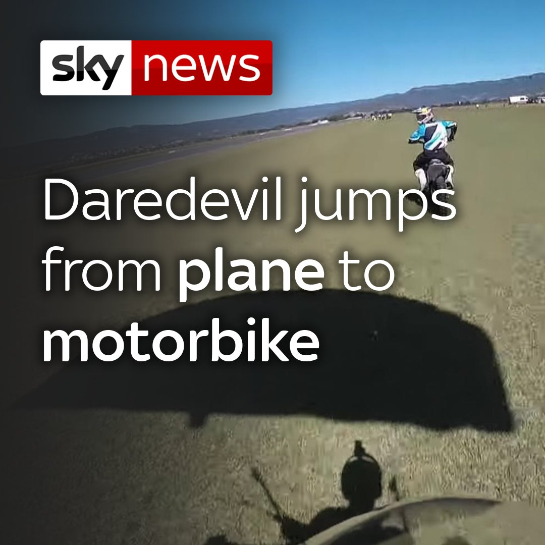 A daredevil skydiving instructor in New South Wales, Australia, has leapt from a plane to land on a friends moving motorbike. 🌏 For more news from around the world, click here 👉 po.st/bDw19J