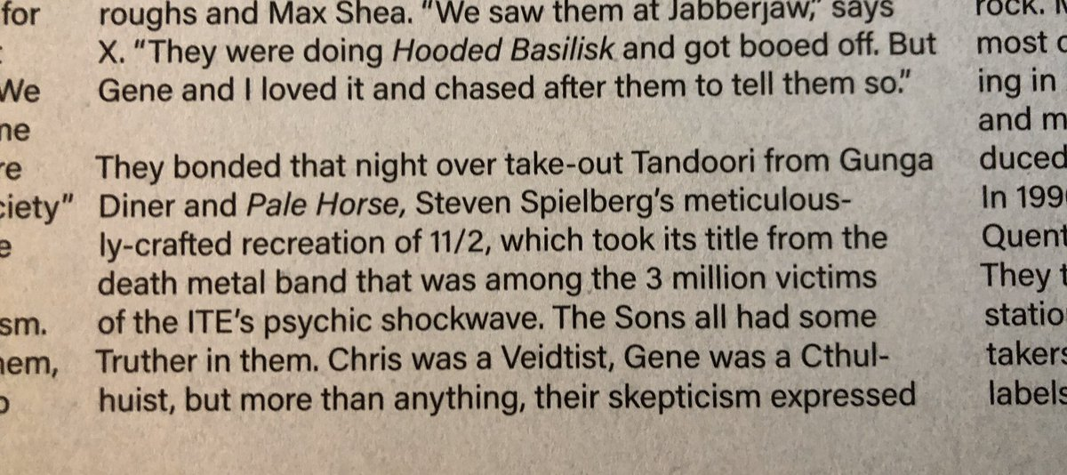 """Pale Horse"" was peak Steven Spielberg and gave Jeff Goldblum the first of his Oscars, but its legacy also includes a really pretentious and doomed rock band. From Seymour David's essay on ""The Book of Rorschach,"" now available at a bargain bin near you... #WatchmenHBO"